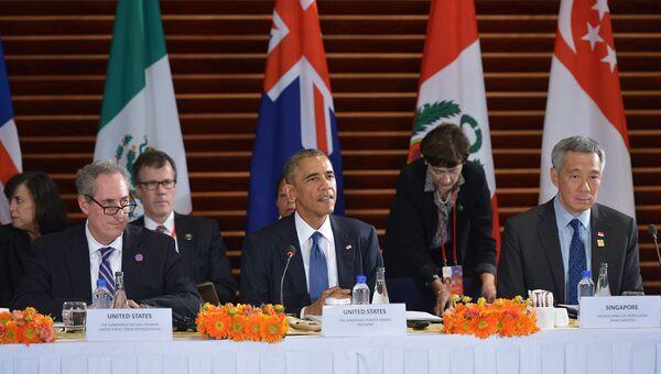 Барак Обама на встрече с руководителями государств-участников планируемого Транс-Тихоокеанского партнерства в Пекине, Китай