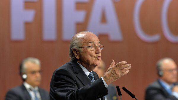 Президент ФИФА Йозеф Блаттер во время выборов президента ФИФА в рамках 65-го Конгресса ФИФА в Цюрихе