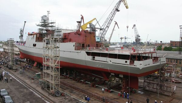 Спуск на воду второго фрегата проекта 11356. Архив