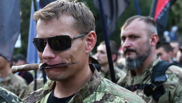Украинские националисты на демонстрации в Киеве.