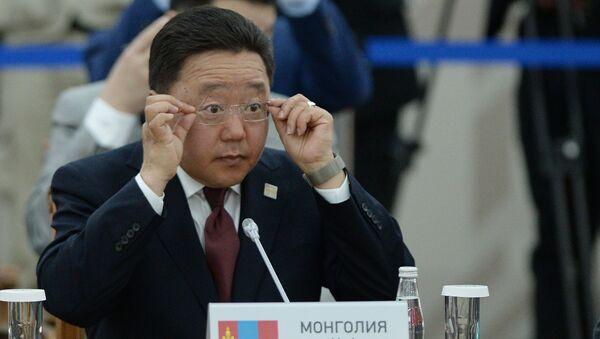 Президент Республики Монголия Цахиагийн Элбэгдорж на заседании Совета глав государств-членов ШОС в расширенном составе с участием делегаций