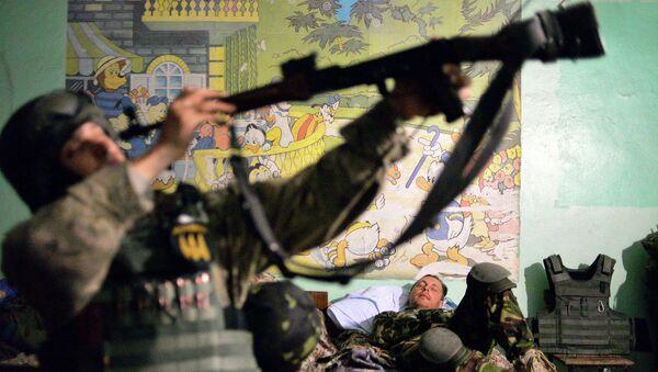 Cолдаты батальона Донбасс в селе Широкино, Донецкая область. Архивное фото