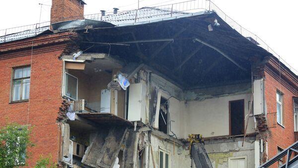 Часть обрушившегося жилого дома по адресу Куйбышева, 103 в Перми.