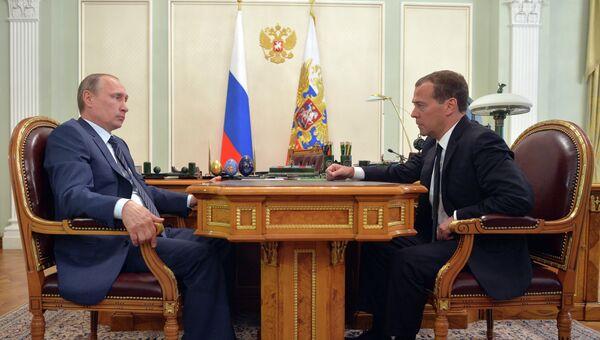Рабочая встреча президента России В.Путина и премьер-министра РФ Д.Медведева