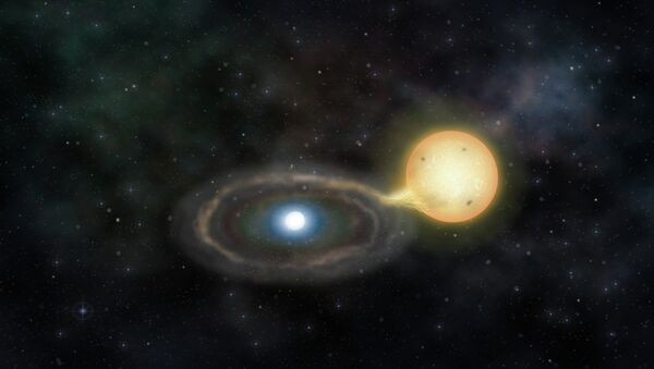 Так художник представил себе двойную звезду Gaia14aae