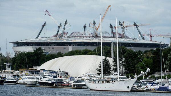 Строительство стадиона Зенит-Арена на Крестовском острове. Архивное фото