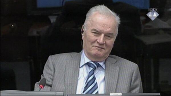 Сербский генерал Ратко Младич в Международном трибунале по бывшей Югославии (МТБЮ) в Гааге, Нидерланды