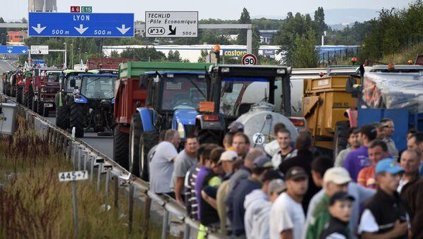 Фермеры заблокировали северный въезд в Лион, Франция. Архивное фото