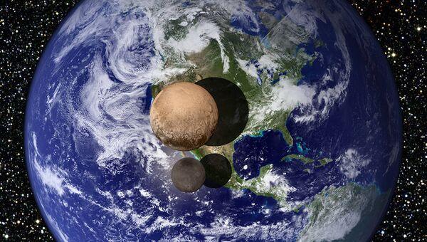 Сравнительное изображение Плутона и Харона на фоне Земли
