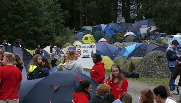 Церемония открытия летнего лагеря Рабочей партии на острове Утойя, Норвегия