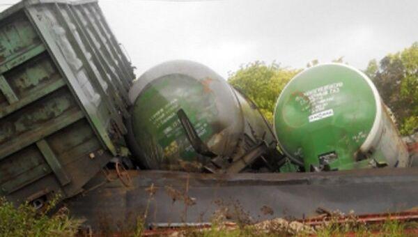 Сход цистерн с газом в Свердловской области