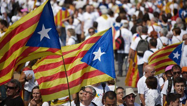 Празднование Дня Каталонии в Барселоне. Архивное фото