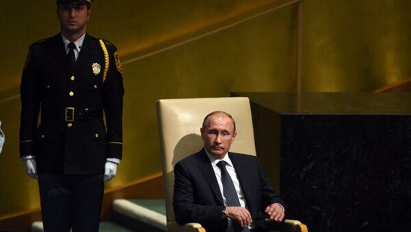 Президент РФ В.Путин на 70-й сессии Генеральной Ассамблеи ООН, архивное фото