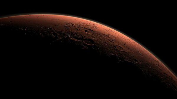 Смодулированное изображение поверхности Марса на границе между свтом и тенью в области кратера Гейл