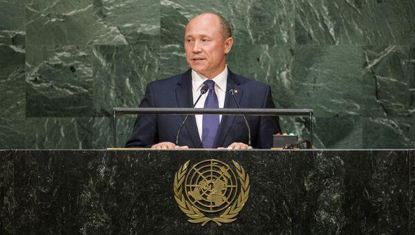 Премьер-министр Молдавии Валерий Стрелец выступает на Генассамблее ООН. Архивное фото