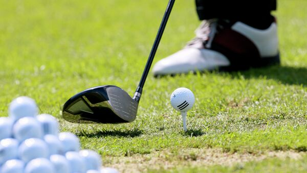 Чемпион России по гольфу Евгений Кафельников во время открытия турнира Открытие гольф поля в Agalarov Estate