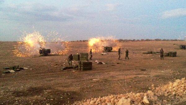 Сирийская артиллерия ведет огонь по террористам на севере провинция Хама. Архивное фото
