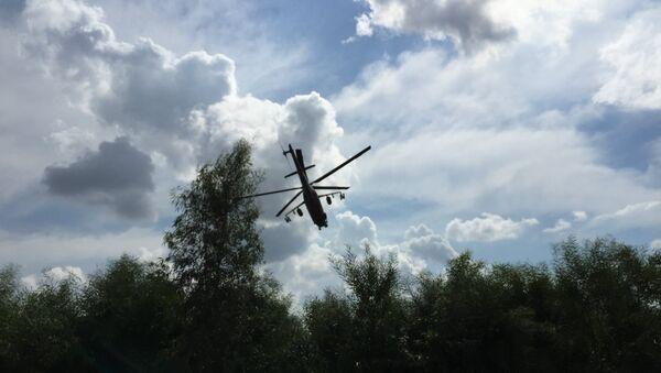 МИ-24 вылетает на боевое задание с авиабазы Хмеймим