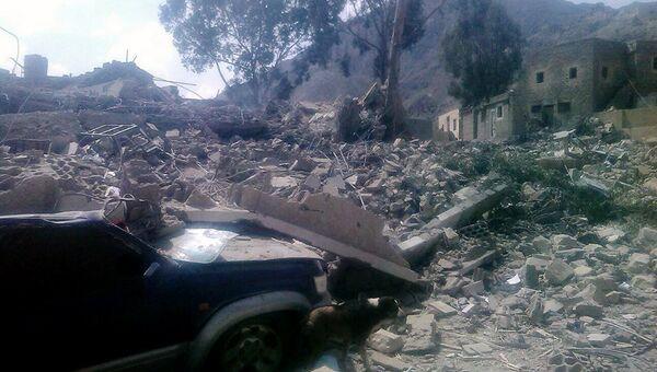 Последствия авиаудара по госпиталю в провинции Саада, Йемен. Архивное фото