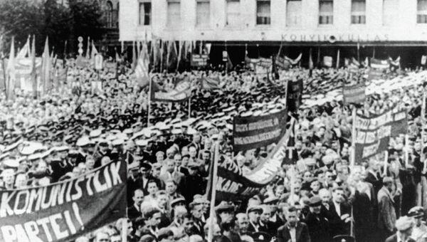 Митинг, посвященный одобрению вхождения Эстонской республики в состав СССР