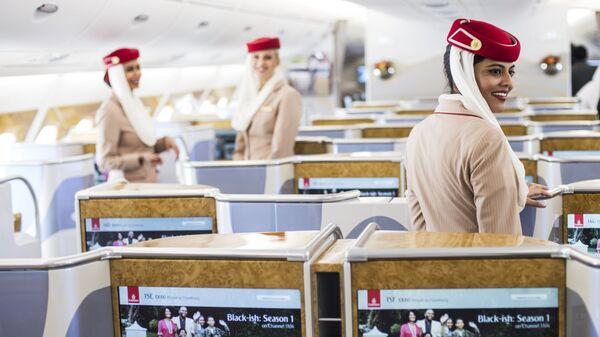 Салон пассажирского самолета Airbus A380-800 авиакомпании Emirates. Архивное фото