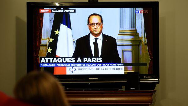 Телеобращение президента Франции Франсуа Олланда после терактов в Париже
