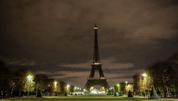 Эйфелева башня без ночной подсветки в память о жертвах крупнейшего в истории Франции теракта. Архивное фото