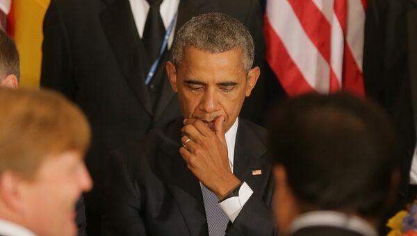 Президент США Барак Обама на официальном завтраке в ООН