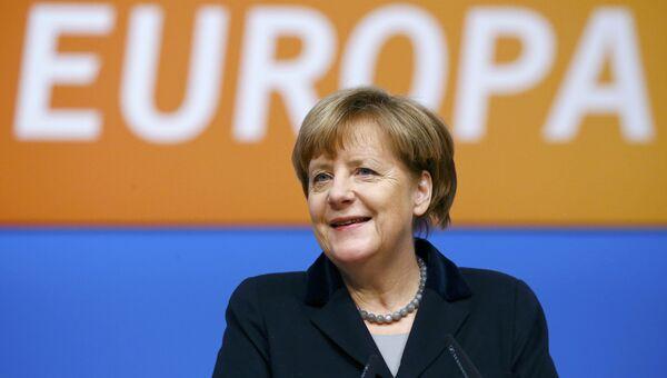 Канцлер Германии Ангела Меркель на съезде партии ХДС в Карлсруэ, Германия