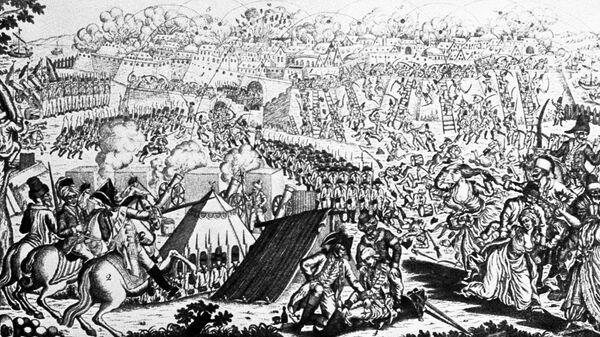 Гравюра Штурм Измаила 11-22 декабря 1790 года под командованием А.Суворова. Государственный Исторический музей. Репродукция. Архив