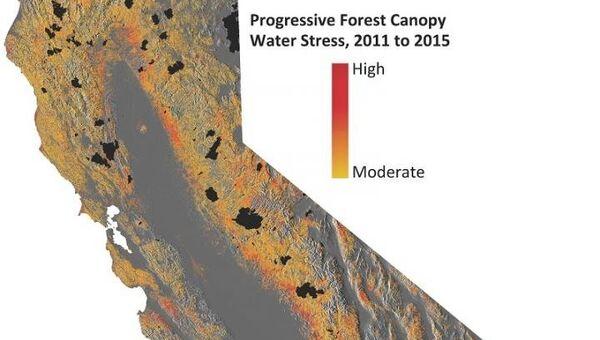 Карты потерь воды в лесах Калифорнии