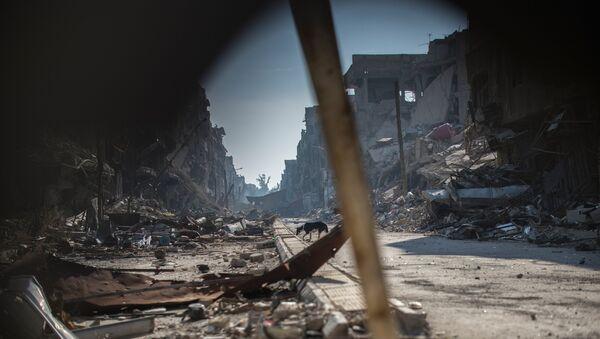 Разрушения в районе Ярмук в Дамаске