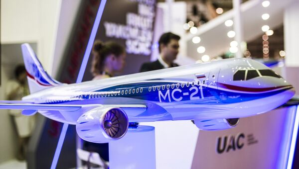 Макет российского пассажирского самолета МС-21  на международной авиационно-космической выставке Dubai Airshow-2015. Архивное фото