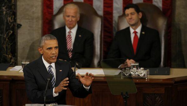 Президент США Барак Обама во время обращения к конгрессу США