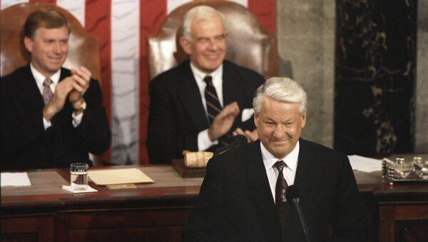 Выступление Президента РФ Бориса Ельцина на совместном заседании палат Конгресса США. 1992 год. Архивное фото