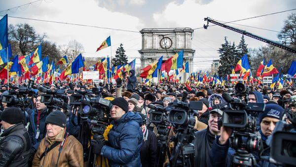 Акция протеста в Молдавии. Архивное фото.