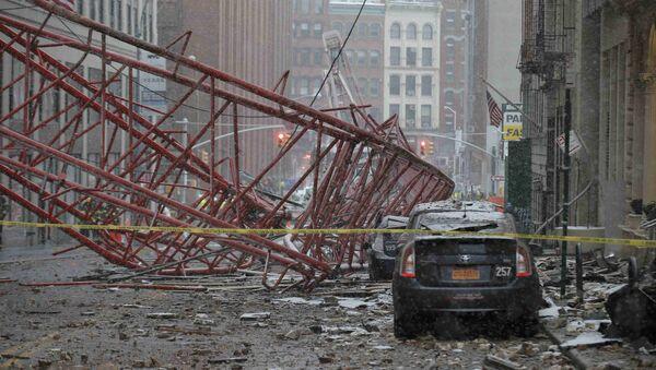Обрушение строительного крана на Манхеттене, Нью-Йорк