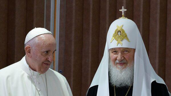 Встреча патриарха Московского и всея Руси Кирилла с папой Римским Франциском. Архивное фото