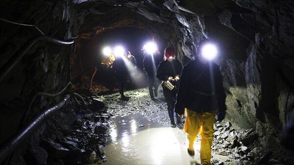 Рабочие на шахте золотоносного рудника. Архивное фото