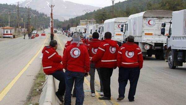 Грузовики с гуманитарной помощью. Архивное фото
