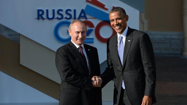 Президент России Владимир Путин (слева) и Президент Соединенных Штатов Америки (США) Барак Обама, архивное фото