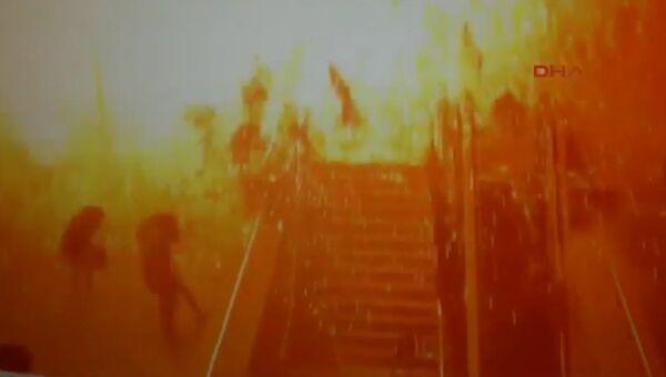 Камеры наблюдения сняли момент взрыва в Анкаре.