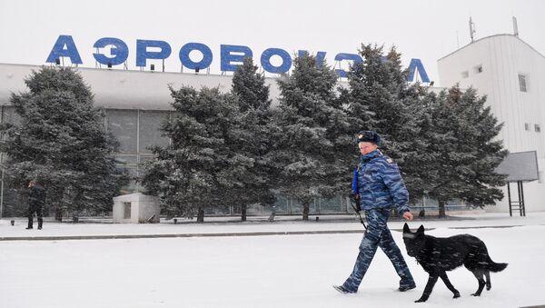 Сотрудник правоохранительных органов с собакой у здания аэропорта Ростова-на-Дону. Архивное фото