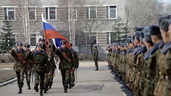 Рязанское высшее воздушно-десантное командное училище. Во время строевого смотра.