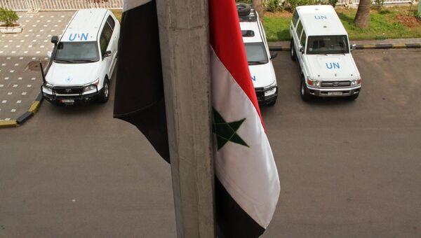 Машины наблюдателей ООН в Сирии. Архивное фото