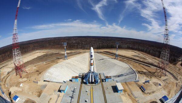 Ракета-носитель Союз-2.1а с российскими космическими аппаратами на стартовом комплексе космодрома Восточный. Архивное фото