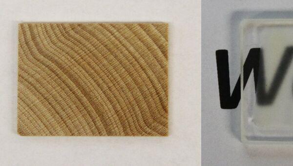 Слева – кусок дерева, справа – изготовленное из него стекло
