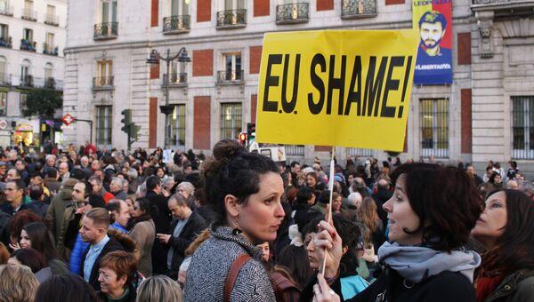 Митинг против соглашения ЕС и Турции по беженцам в Мадриде
