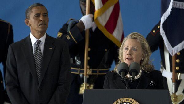 Президент США Барак Обама и экс-госсекретарь США Хиллари Клинтон