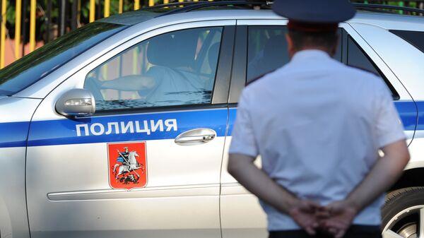 Полицейский автомобиль и сотрудник полиции. Архивное фото